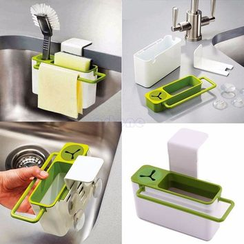 DCCKL72 Suction Cup Base Kitchen Brush Sponge Sink Draining Towel Rack Washing Holder