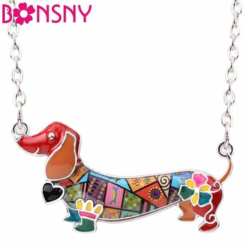 Bonsny Enamel Statement Maxi Pet Dachshund Dog Choker Necklace Alloy Pendant Chain Collar 2017 New Animal Jewelry For Women