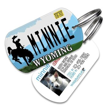 Wyoming License Plate Pet Tag