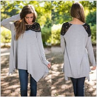 Gray Lace Panel Long Sleeve Shirt