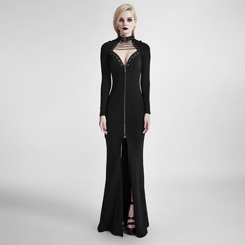 2017 Punk Fashion Long Sleeve Party Dress Steampunk Gothic Black Sexy Backless Hollow Out Slim-Fitting Floor Length Long Dress