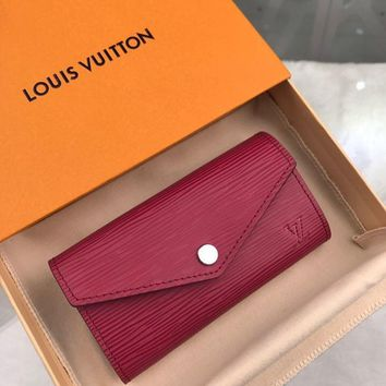 Kuyou Gb1986 Louis Vuitton Lv M56245 Epi Rose Red Leather Key & Card Holders Coin Card Holder 13.5x7.0x1.5cm