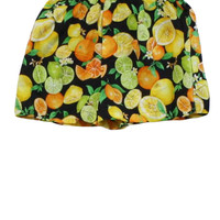 1980's Retro Shorts: 80s -No Label- Womens black background with lime greens, lemon yellows, white, mint greens, oranges, citrus fruit, lemons, limes, oranges, grapefruit print with bees and flowers, cotton broadcloth, elastic waist shorts with false fly a