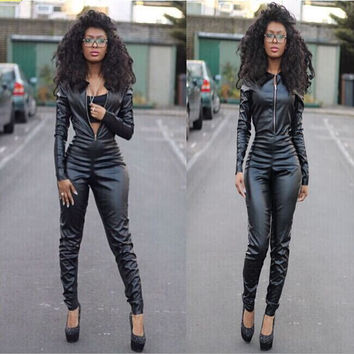 Black Long Sleeve Zippered Jumpsuits
