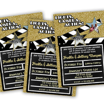 Movie Party 50th Wedding Anniversary Invitation - Lights Camera Action- 50th Anniversary Party Then and Now Photo Invites - Modern - Fun
