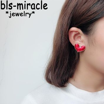Bls-miracle 2018 Fashion Big Heart Earrings For Women Gold Color Double sided Red Earring Femme Statement Jewelry Party Gift 029