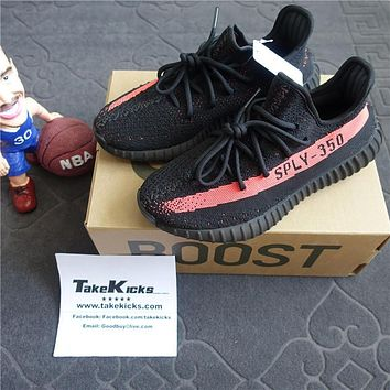 Original Adidas YEEZY Boost 350 V2 'Red Stripe' Core Black Red sply BY9612