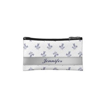 Tiny Harebells - Hungarian Blue-dye Folk Art light Cosmetic Bags from Zazzle.com