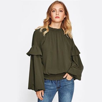 Frill Trim High Neck Puffy Sleeve Blouse
