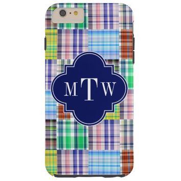 Preppy Patchwork Madras Navy Quatrefoil Monogram Tough iPhone 6 Plus Case