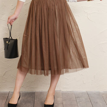 MIME-length tulle skirt skirts flared skirt MIME MIDI length knee knee-long plain Tutu petticoat adult ladies A line loose volume simple flare-half length