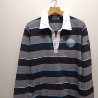 15% CRAZE SALE Vintage 90's Quiksilver Surf Wear Stripe Long Sleeve Polos Sport Wear Surfing Size L