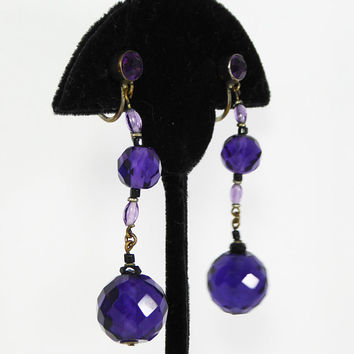 Art Deco Screw Back Earrings Dangling Faceted Crystal Glass Beads Vintage 1930s 1940s Beaded Screwback Dark Purple Beaded Earrings