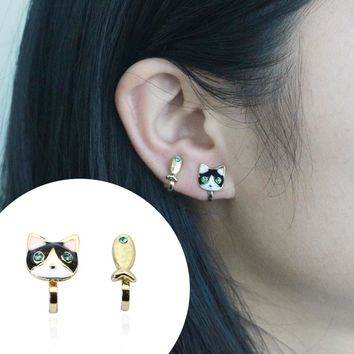 1 Pair Asymmetric Crystal Cat Fish Clip Earrings