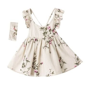 Flouncing Braces Summer Girls Dress Linen Peach Floral Skater Dresses Kids Girl Backless Dress + Heabands Children Clothing