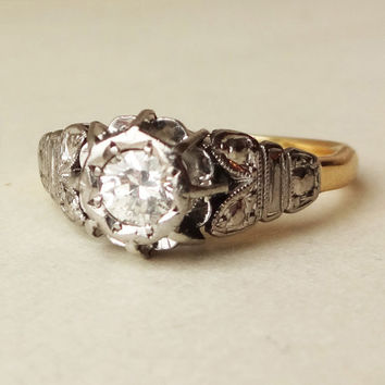 Art Deco .30 Carat Diamond Solitaire Ring, Platinum, 18k Gold and Diamond Engagement Ring Size US 7.25