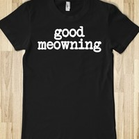 Funny Japanese Anime-Inspired 'Good meowing' Black and White T-Shirt