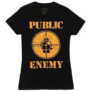 Public Enemy Logo Distressed Licensed Women's Junior T-Shirt - Black