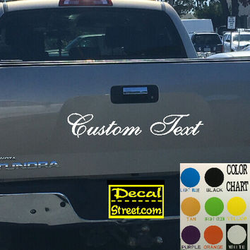 Custom Text Tailgate Decal Sticker 4x4 Diesel Truck SUV