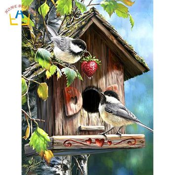 animals birds acrylic paints coloring by numbers on canvas wall art picture for the kitchen decor hand painted paintings WY5254