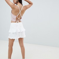 ASOS DESIGN lace up back sun top in red cotton stripe at asos.com