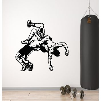 Vinyl Wall Decal Wrestlers Fight Wrestling Martial Art Fighting Sport Stickers Mural (g937)