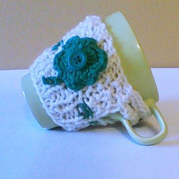 St. Patrick's day hand knit coffee cozy with crochet shamrock/tea cozy/Mug warmer/coffee Cup sweater/Cup cozy/Cup sleeve/Knitted cozy