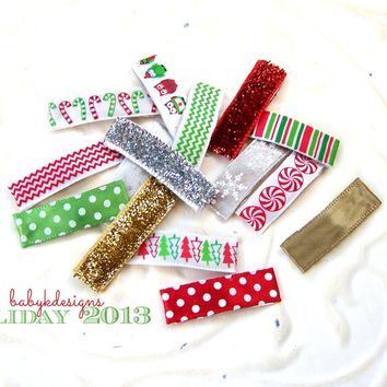 Christmas HOLIDAY Infant Clips Stocking Stuffer/ Newborn Baby Girls Hair Snap Clip. 4 Various Itty Bitty No Bow No Slip Alligator  Barrettes