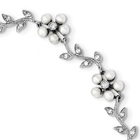 Sterling Silver Rhodium FW Cultured Pearl and CZ Floral Bracelet