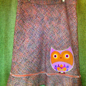 Gypsy Plantation  repurposed upcycled Pink tweedy lined skirt with owl applique size XL 16