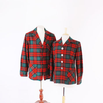 Vintage 50s His n Hers jackets / 1950s Red & Green Tartan Pendleton Matching 49ER JACKET SET