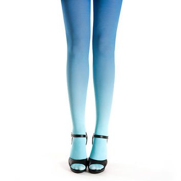 Ombre tights turquoise - blue