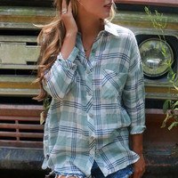 Long Way Home Mint & Navy Plaid Button Down With Quarter Length Sleeves