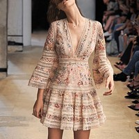 Hollow V-neck dress lace floral holiday fairy skirt embroidery