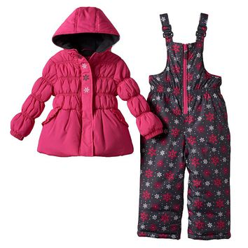 Pink Platinum Snowflake Hooded Jacket & Bib Snow Pants Set - Girls