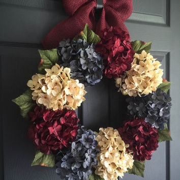 Patriotic Wreath - Americana Decor - 4th of July Wreath - Fourth of July Decor - Summer Wreath - Front Door Wreaths - Hydrangea Wreath