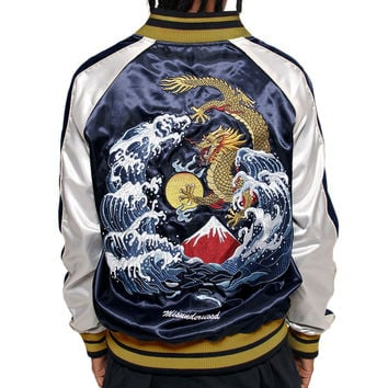 Misunderstood Midnight & Silver Satin Embroidery Bomber Souvenir Jacket - 3 Left!