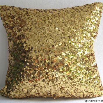 Starry Night. Luxury Glamour. Gold Sequins Embellished Pillow Cover. Modern Gift