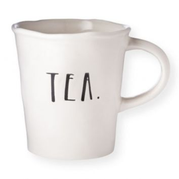 "Rae Dunn Stem Print Cafe Mug - ""Tea"""