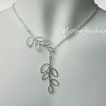 Halloweek Gift, Branch Jewelry, Branch Necklace, Branch Lariat, Silver Branch, Autumn  N-3