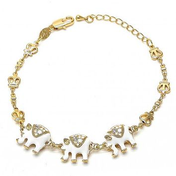 Gold Layered Fancy Bracelet, Elephant and Crown Design, with Crystal, Gold Tone