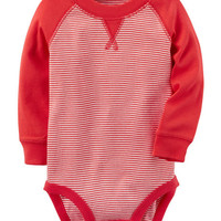 Long-Sleeve Raglan Striped Bodysuit