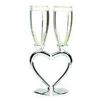 Hortense B. Hewitt Wedding Accessories Interlocking Heart Champagne Toasting Flutes, Set of 2