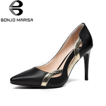 BONJOMARISA Women's Patent Genuine Leather Shoes Woman Thin High Heels Pointed Toe Less Platform Stiletto Pumps Size 34-39