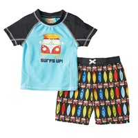 Baby Buns ''Surf's Up'' Rashguard & Swim Trunks Set - Baby Boy, Size: