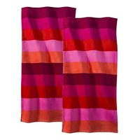 Rugby Stripes Red Beach Towel - 2 pack