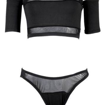 Mitchell Mesh Off Shoulder Bikini Set - More Colors