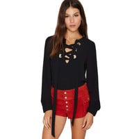 Women Front Lace up Black Shirt Bow Tie up Chiffon Blouse Fashion Long Sleeve Shirt Office Workwear Tunic V Neck Casual Vintage = 5613064065