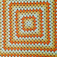 Vintage 70s Orange Creamsicle Swirl Hand Crotched Afghan
