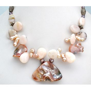 Abalone SeaShell Pink Pearl & Rhodonite Necklace